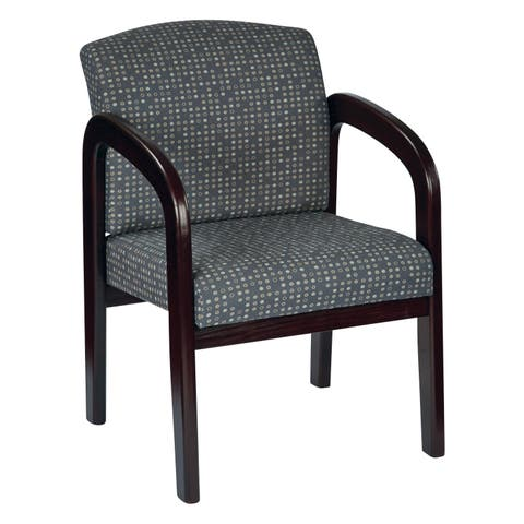 Work Smart Fabric Mahogany Finish Wood Visitor Chair