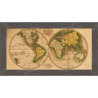 Canvas Art Framed 'World Map' by Matthew Carey: Outer Size 27 x 15-inch