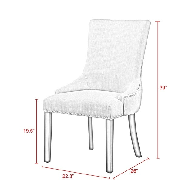 Harvey Upholstered Tufted Dining Chair Nailhead Trim (Set of 2)