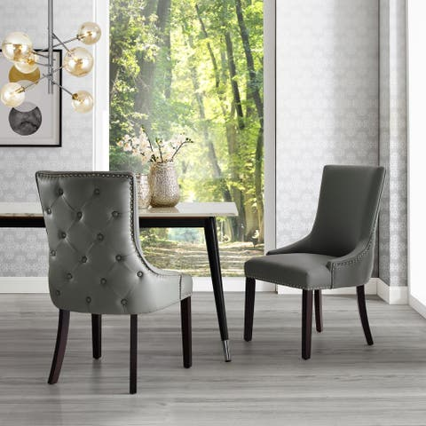 Harvey Upholstered Tufted Nailhead Trim Dining Chair (Set of 2)