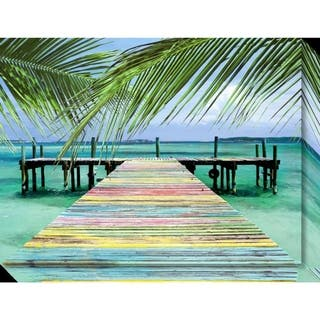 Canvas Art Gallery Wrap 'Rainbow Dock' by Steve Vaughn: Outer Size 24 x 18-inch