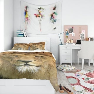 Designart - Lion with Calm Face - Animal Duvet Cover Set