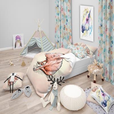 Designart 'Smiling Pig in Brush Painting' Farmhouse Animal Bedding Set - Duvet Cover & Shams