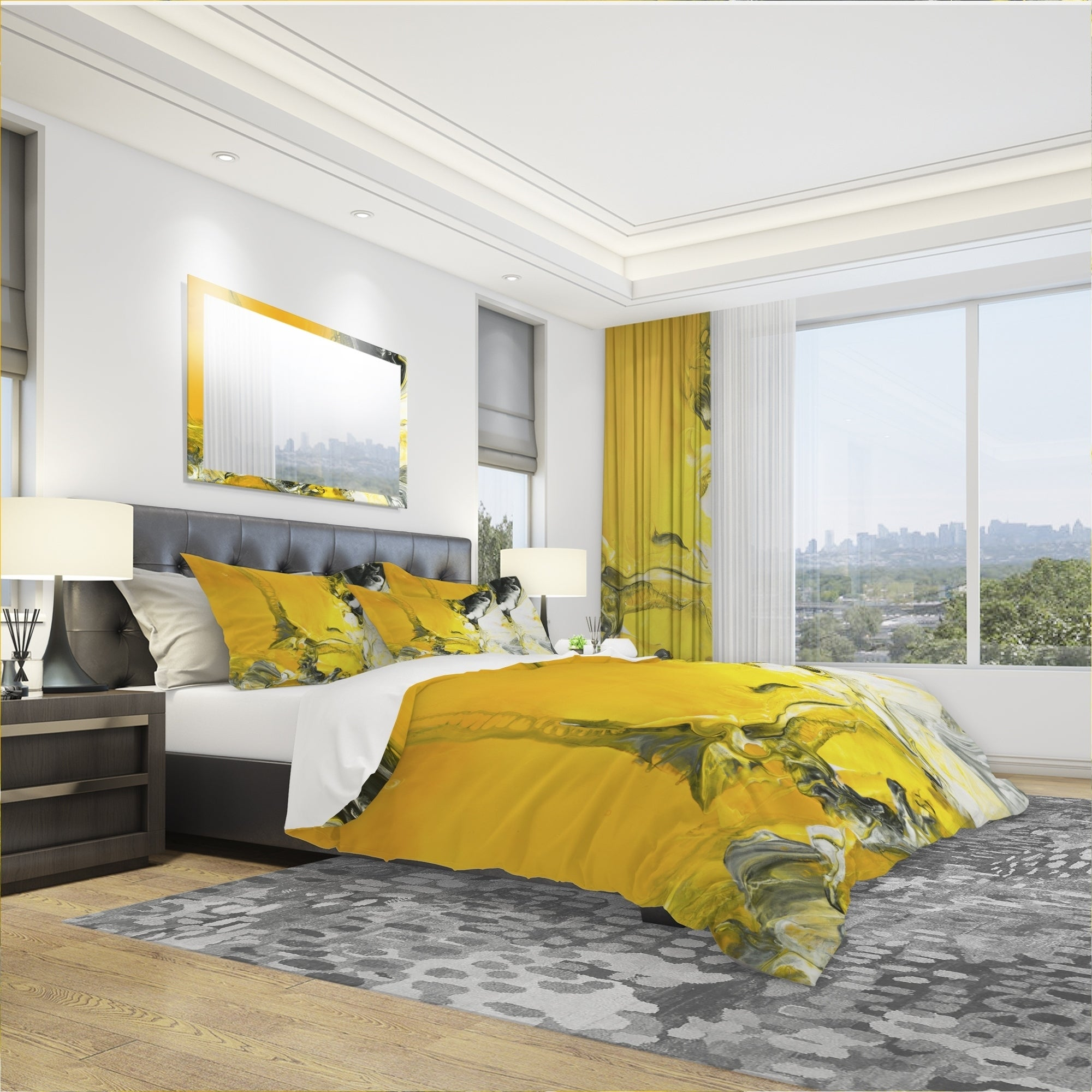 Designart White And Yellow Marbled Acrylic With A Cloud Of Black Modern Contemporary Bedding Set Duvet Cover Shams Overstock 24239692