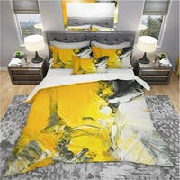 Designart 'White and Yellow Marbled Acrylic with a cloud of Black' Modern & Contemporary Bedding Set - Duvet Cover & Shams