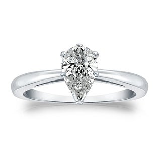 Pear Shape Solitaire Diamond Engagement Ring 1 4ctw 14k Gold By Auriya