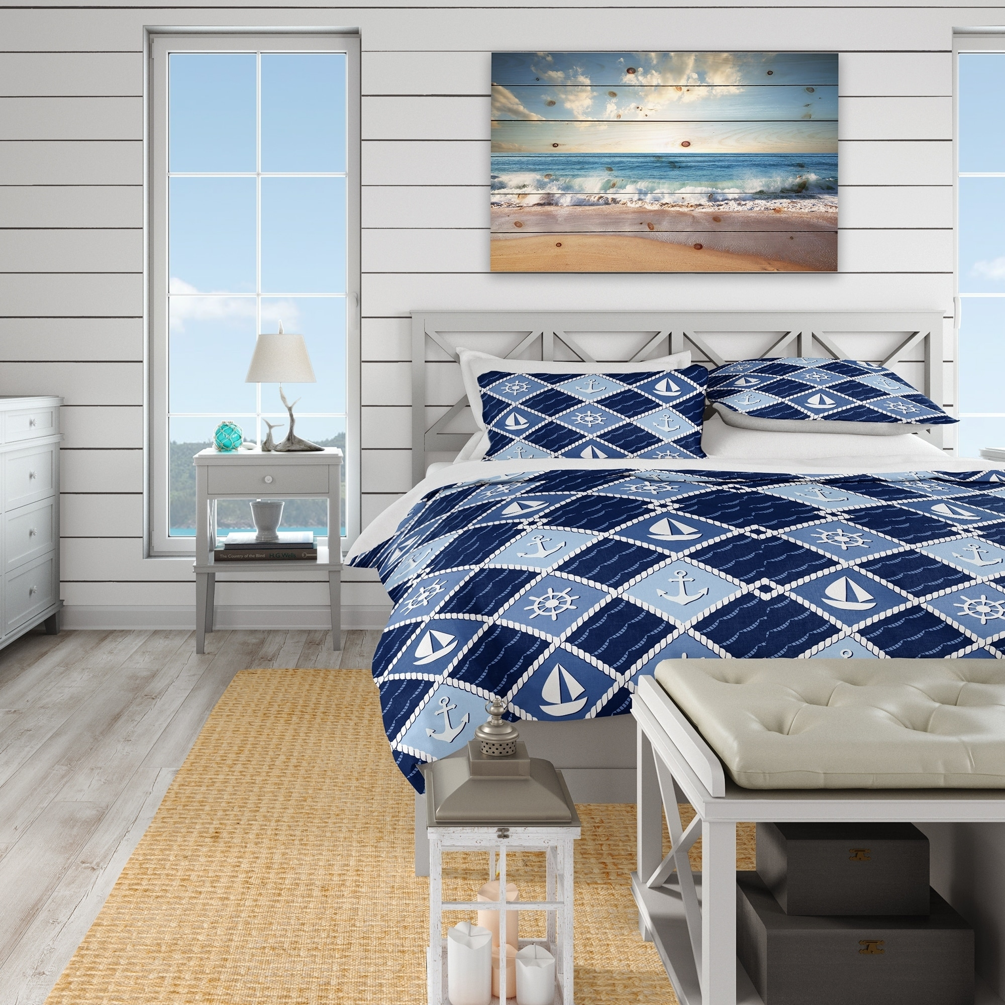 Anchor Sailing Boat Duvet Cover Pillowcases Set Quilt//Comforter//Doona Covers