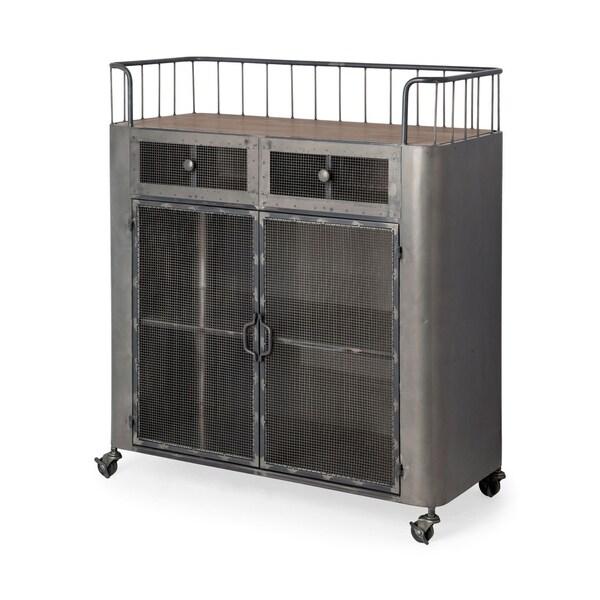 Mercana Udo Grey Metal/Fir Wood Rolling Cart