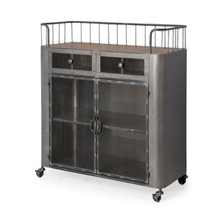 Mercana Udo Grey Metal/Fir Wood Rolling Cart