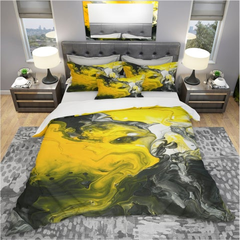 Designart 'Hand Painted Acrylic Marble with Yellow and Black' Modern & Contemporary Bedding Set - Duvet Cover & Shams