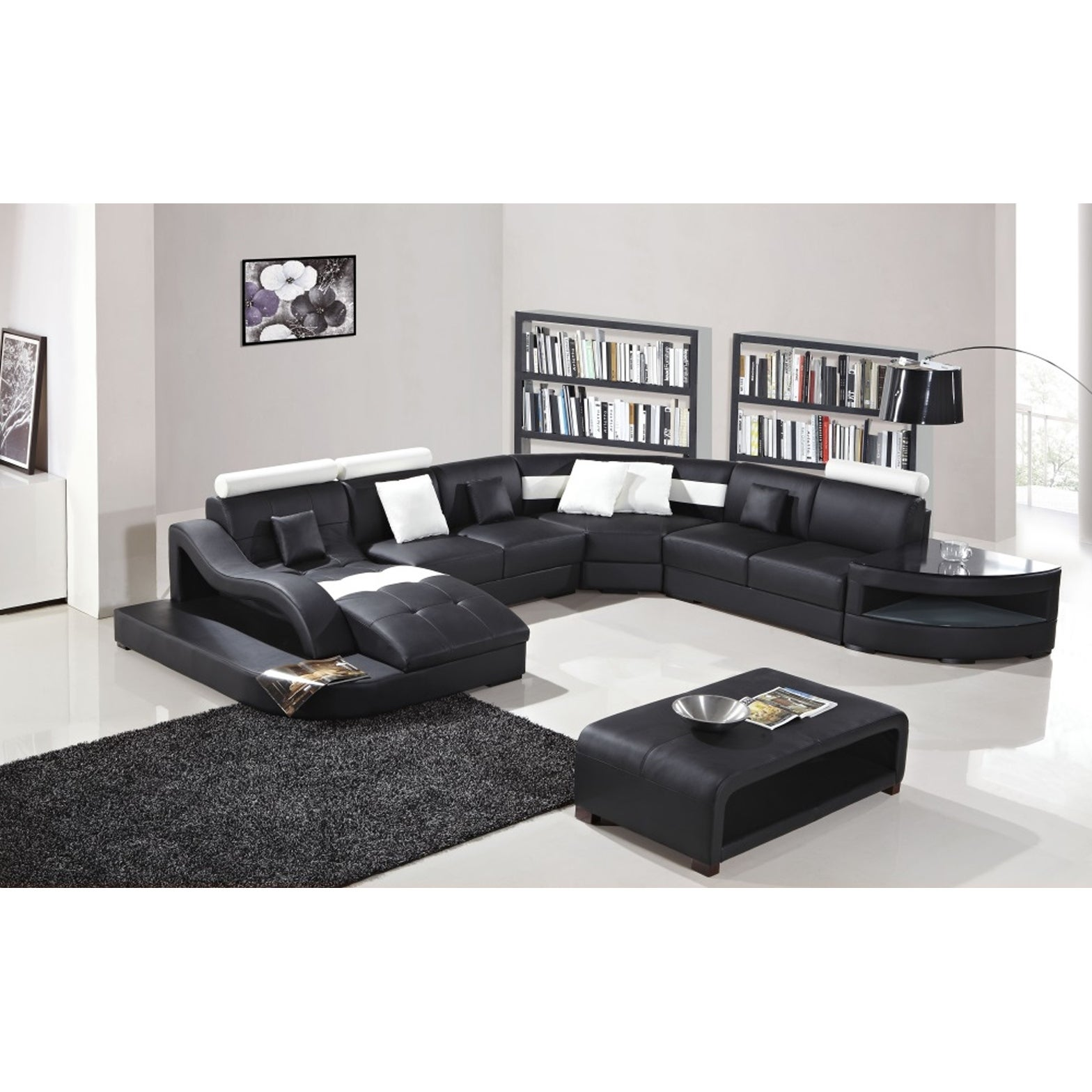 Black and White Modern Contemporary Real Leather Sectional Living Room Set  with Chaise Lounge, Storage Shelves and Coffee Table