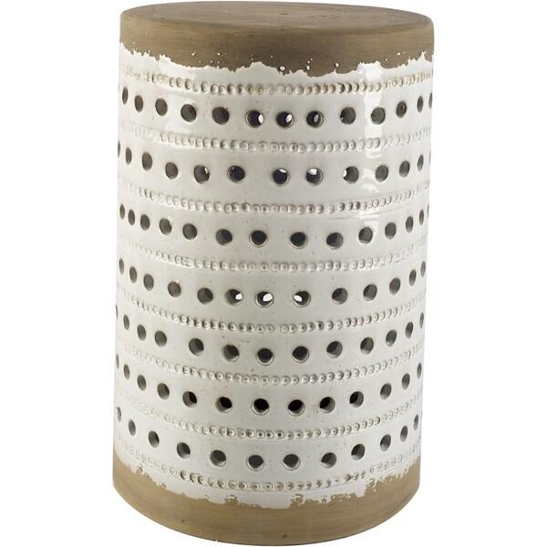 Mercana Thar II White/Tan Ceramic Ottoman