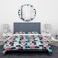Designart 'Mosaic retro colourful circles' Vintage Bedding Set - Duvet Cover & Shams