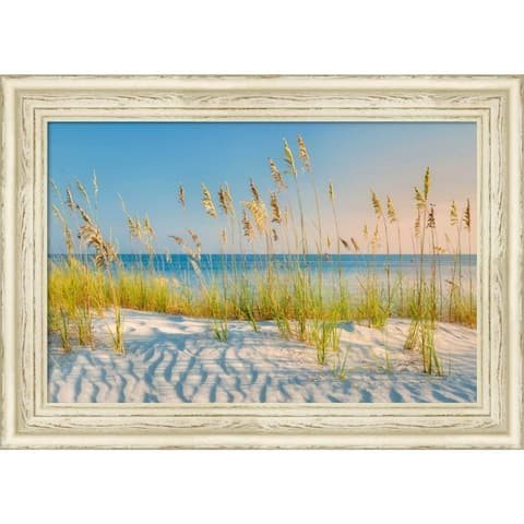 Canvas Art Framed 'Sea Oats' by Dennis Frates: Outer Size 27 x 19-inch