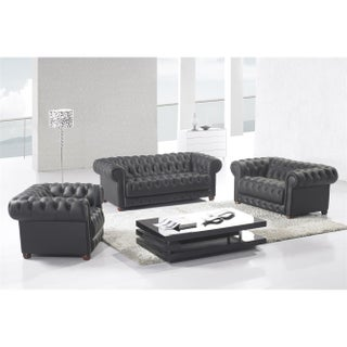 Matte Black Modern Contemporary Real Leather Configurable Living Room Furniture Set with Sofa, Loveseat and Chair