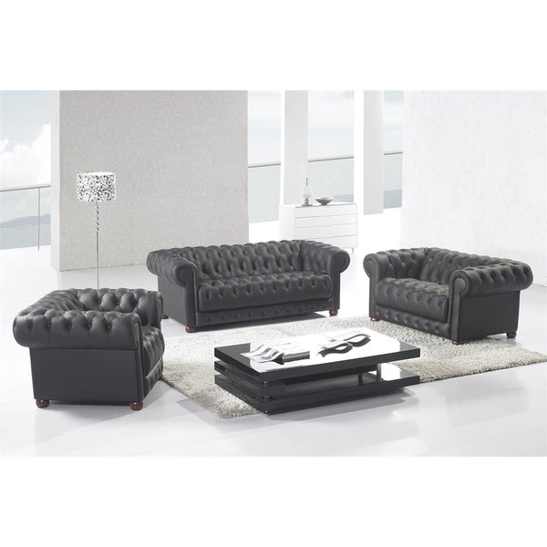 Delicieux Matte Black Modern Contemporary Real Leather Configurable Living Room Furniture  Set With Sofa, Loveseat And
