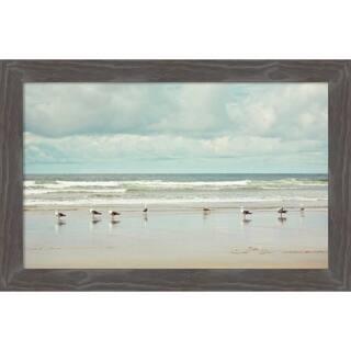Canvas Art Framed 'Beachcombing' by Irene Suchocki: Outer Size 26 x 17-inch