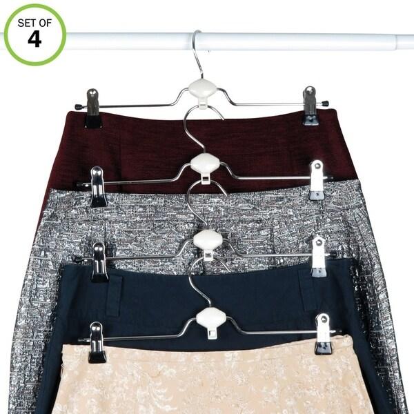 Evelots Metal Non Slip Rubber Coated Cascading Pant, Skirt Clip Hangers, Set/4