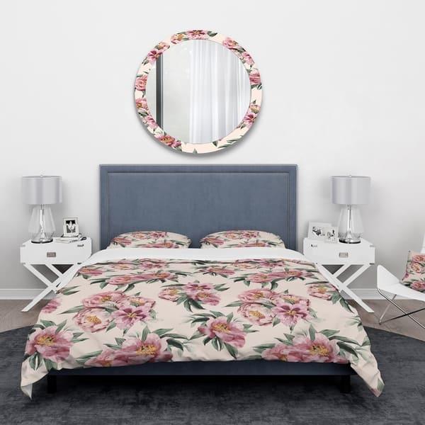 Shop Designart \'Pink Peonies\' Floral Bedding Set - Duvet ...