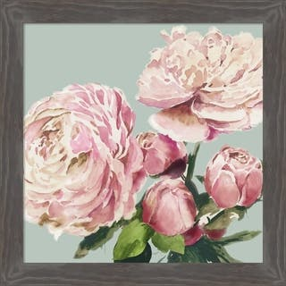 Canvas Art Framed 'Pink Peony II' by Asia Jensen: Outer Size 21 x 21-inch