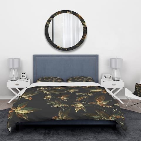 Designart 'Brown and Green Autumn leaves' Vintage Bedding Set - Duvet Cover & Shams