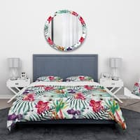 Designart 'Orchids and Blossoming Tropical Flowers' Floral Bedding Set - Duvet Cover & Shams