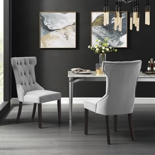 Julia Velvet or Linen Wingback Button Tufted Dining Chair (Set of 2)