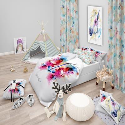 Designart 'Monotype colorful butterfly' Animals Bedding Set - Duvet Cover & Shams