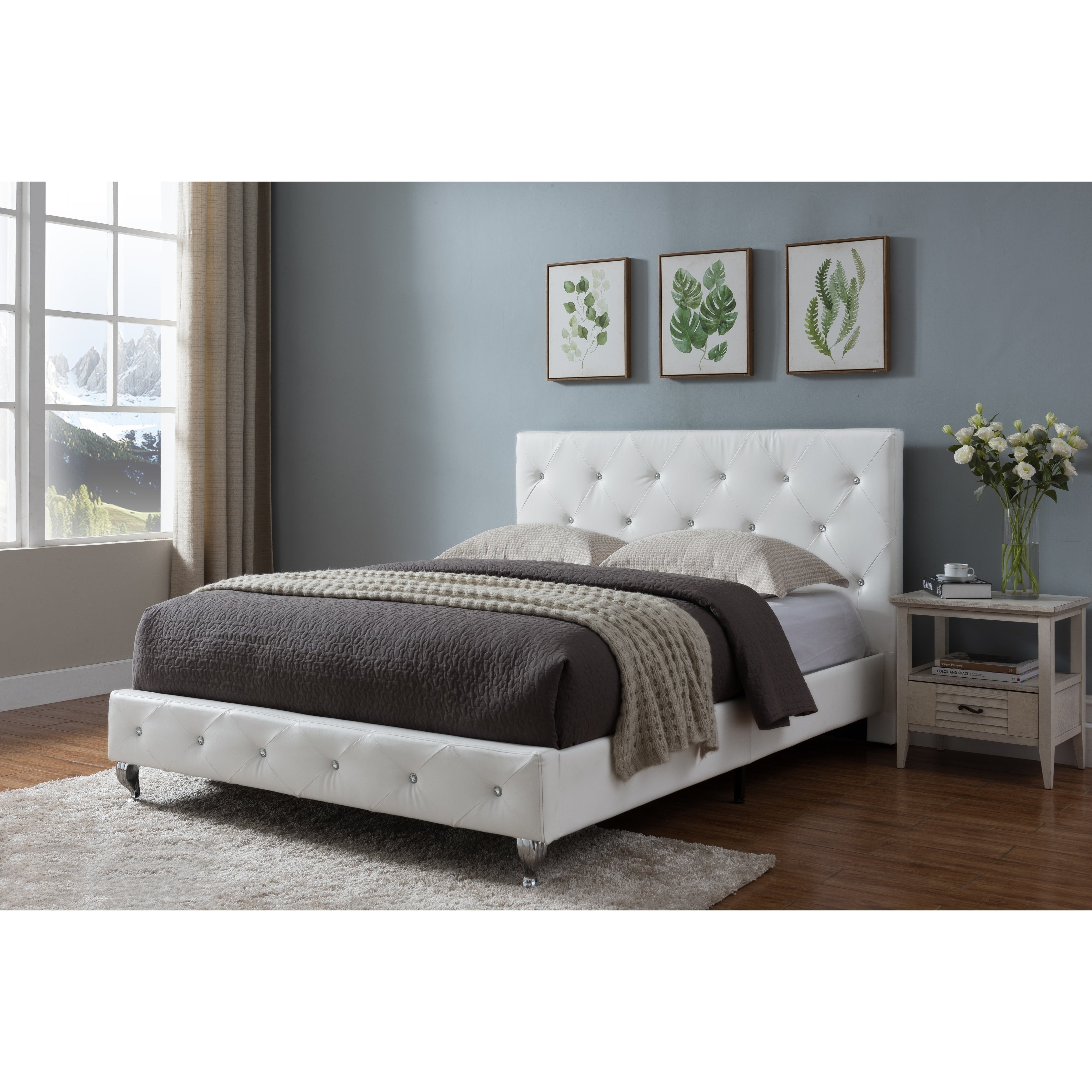 Shop Black Friday Deals On King Size Upholstered Beds White Faux Leather Overstock 24240107