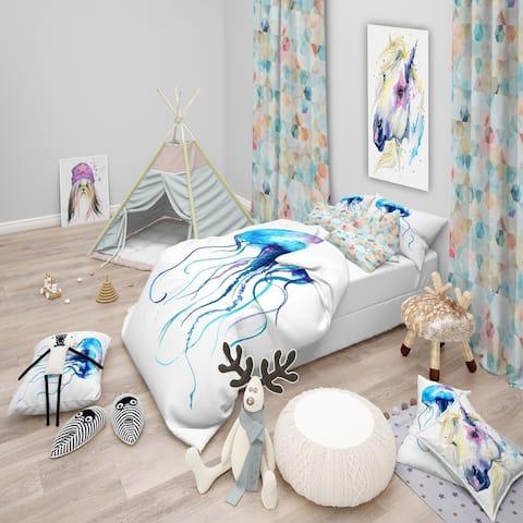 Designart 'Large Light Blue Jellyfish' Animal Bedding Set - Duvet Cover & Shams
