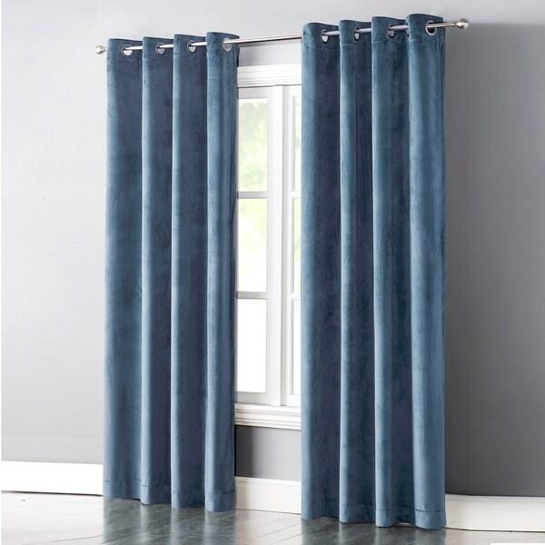 Cathy Blue Velvet Light Blocking Curtain Panel