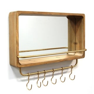 Stratton Home Decor Madison Natural Wood/Metal Shelf and Hooks Mirror