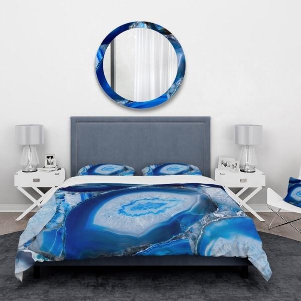 Designart 'Blue Agate Geode' Mid-Century Modern Bedding Set - Duvet Cover & Shams