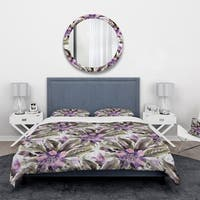 Designart 'Seamless pattern with watercolor flowers' Abstract Bedding Set - Duvet Cover & Shams