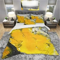 Designart 'Yellow , Black and Marbled Acrylic Painting' Modern & Contemporary Bedding Set - Duvet Cover & Shams