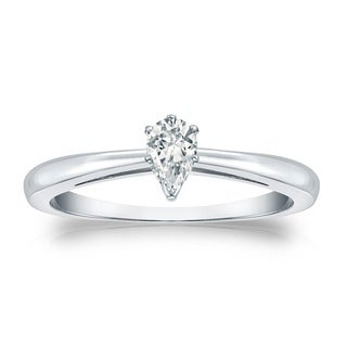 14k Gold 1/3ct TDW Pear Shaped Solitaire Diamond Engagement Ring by Auriya
