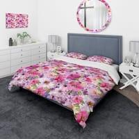 Designart - Watercolor Pianted Pink and Purple Flowers - Floral Duvet Cover Set