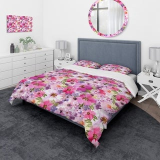 Designart - Watercolor Pianted Pink and Purple Flowers - Floral Duvet Cover Set