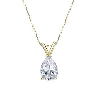 14k Gold Pear Shaped 1 2ct TDW Solitaire Diamond Necklace By Auriya