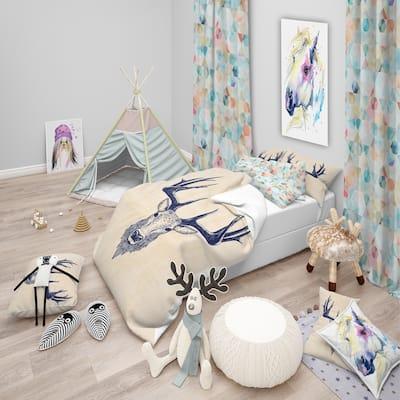 Designart 'Deer head Portrait' Sketch Animals Bedding Set - Duvet Cover & Shams
