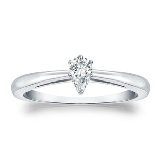 14k Gold 1/4ct TDW Pear Shaped Solitaire Diamond Engagement Ring by Auriya