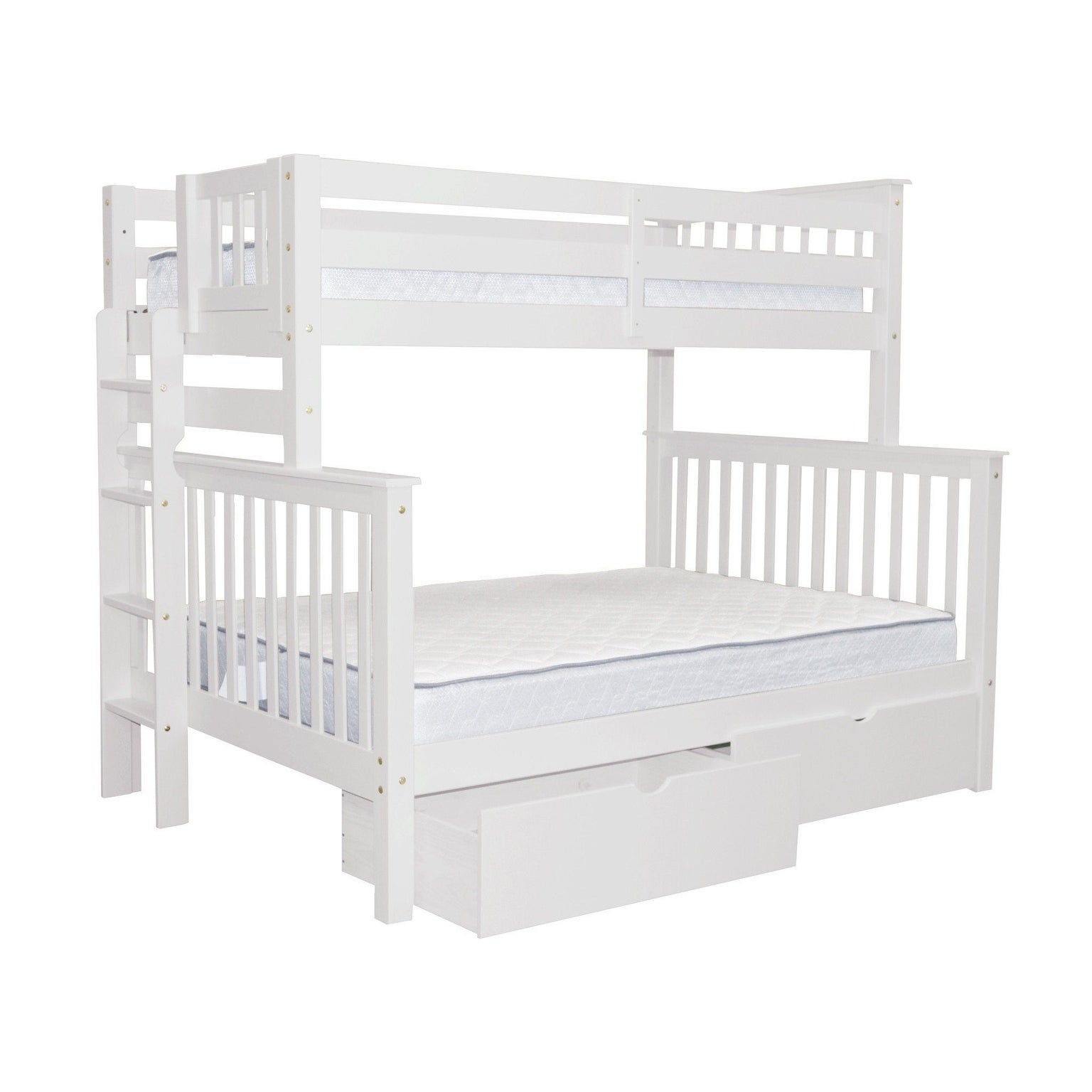 Bedz King White Brazilian Pine Wood Twin Over Full Mission ...