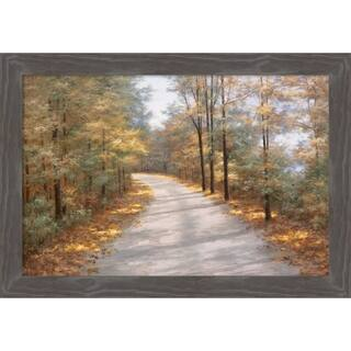 Canvas Art Framed 'Walking in Fall' by Diane Romanello: Outer Size 27 x 19-inch