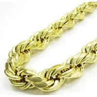 18k Yellow Gold Thick Rope Chain Necklace.