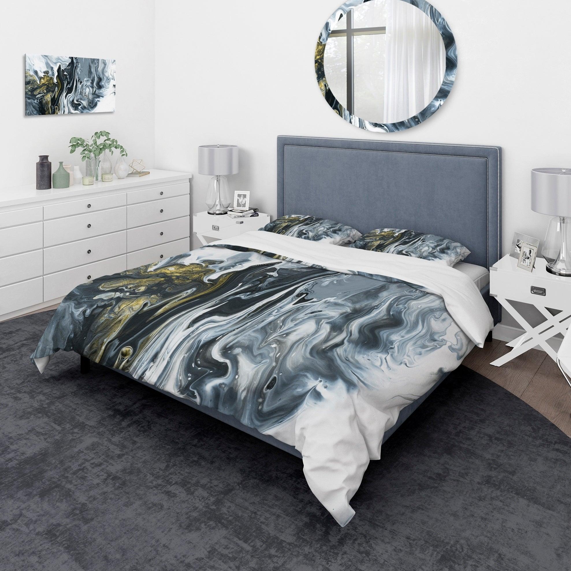 Designart White Grey And White Marble Acrylic Mid Century Modern Bedding Set Duvet Cover Shams Overstock 24240485