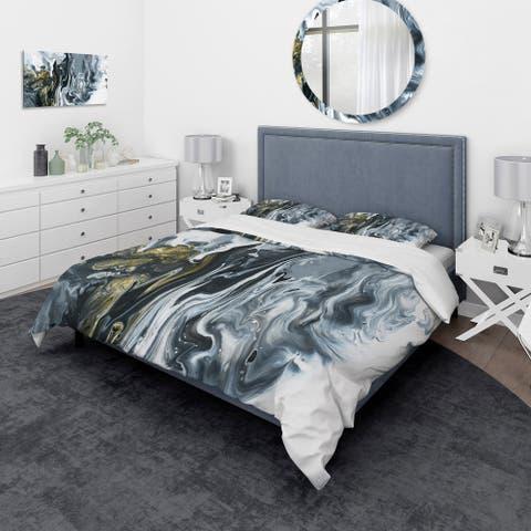Designart 'White, grey and White Marble Acrylic' Mid-Century Modern Bedding Set - Duvet Cover & Shams