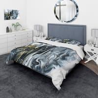 Designart 'White, grey and White Hand Painted Marble Acrylic' Mid-Century Modern Bedding Set - Duvet Cover & Shams
