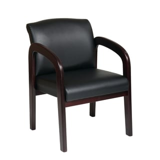Bonded Leather Mahogany Finish Wood Visitor Chair