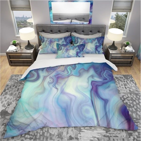 Designart 'Marbled Colours in Shades of Turquoise and Purple' Modern & Contemporary Bedding Set - Duvet Cover & Shams