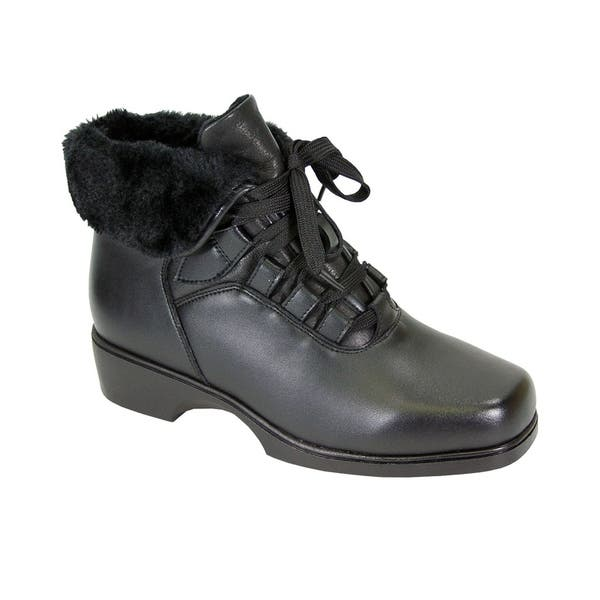 9f985ca52c04 Peerage Paola Women Wide Width Leather Bootie with Laces Fleece Lining ...